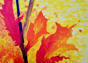 orange and yellow abstract oil painting by Elowen