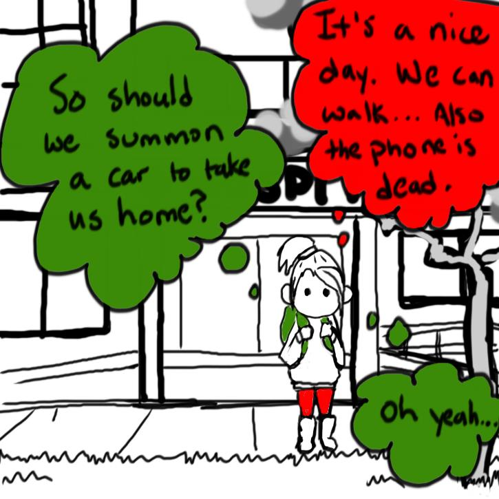 "This frame shows the blob system from teh outside, as a girl with red pangs and a green backpack stadning in front of a hospital. The colors of their clothing indicates who in the blob system is out. THere is no other colors in the frame. Thought bubbles show that they are talking internally with each thought bubble colored to indicate which blob is talking. Green asks ""So should we summon a car to take us home."" Red says ""It's a nice day. We can walk.. Also, the phone is dead.."" Green says ""Oh yeah..."""