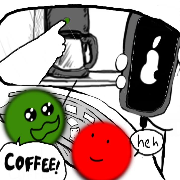 "In this frame we can see from the screen behind Green and Red that they are home. One of their hards pushes the brew button on the coffee machine and it lights up a green color. While the other hand hold teh phone which shows the load up logo of a pear with a bite out of it. Green is looking beside herself with joy and she shouts ""COFFEE!"" Red looks mildly amused as she says ""heh."""