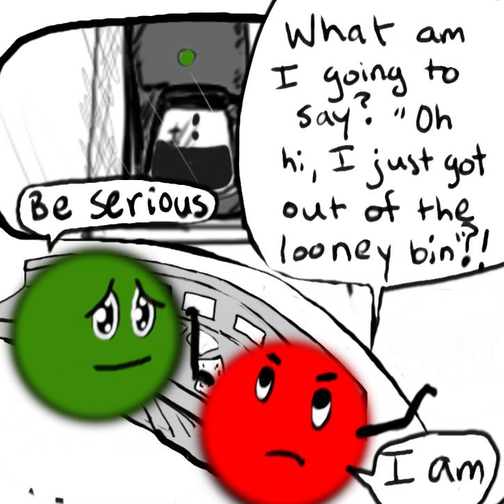 "Frame 5 shows the coffee machine is slightly fuller, and still brewing. Red looks exasperaed as she says ""What am I going to say? 'Oh I just got out of the looney bin'?!"" Green looks sympathetic, consiliatory as she asks Red to be serious. Red says she is being serious."